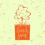 Символ логотипа для свежего сока Фруктовое дерев дерево Померанцовый вал вычерченная рука Стоковое Фото