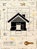 Символ дома как техническая светокопия чертежа иллюстрация штока