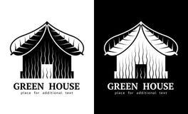 Символ дома с крышей листьев иллюстрация вектора