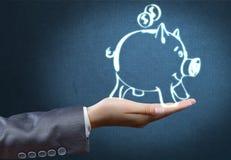 символ процента дег рук принципиальной схемы банка Стоковая Фотография