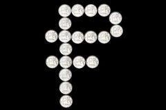 Символ русского рубля сделанный монеток Стоковое Изображение RF