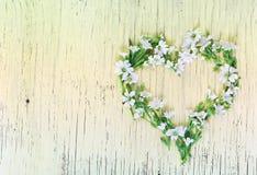 Символ сердца сделанный из цветков на деревянной предпосылке Стоковые Фотографии RF