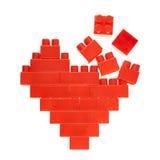 Символ сердца сделанный кирпичей игрушки Стоковое Фото