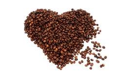 Символ сердца сделанный от кофейных зерен 2 стоковое изображение