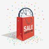 Символ скидки продажи специального предложения с вахтой хозяйственной сумки и стены Стоковые Изображения RF