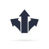 Символ 3 стрелок указывая в различные направления Отборный значок, концепция пути зацепляет икону иллюстрация вектора