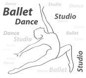 Символ студии танцев балерины Illistration вектора Стоковая Фотография