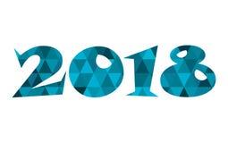 Символ счастливого вектора Нового Года 2018 голубой низкий поли Стоковая Фотография RF
