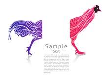 Символ цыпленка показывает французский флаг с художнической линией внутрь Стоковые Изображения RF