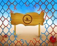 Символ шлюпки на деревянной и сломленной красной и голубой сети Стоковое фото RF