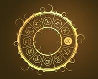 Символы астрологии в золотом круге Знак быка Стоковые Изображения