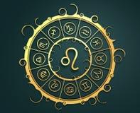 Символы астрологии в золотом круге Знак льва Стоковые Фотографии RF