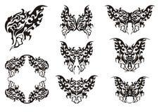 Символы бабочки черная белизна Стоковое Изображение