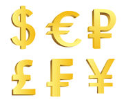 символы валюты золотистые Стоковые Фото