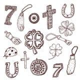 Символы везения стиля Doodle иллюстрация штока