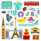 Символы вектора летних каникулов времени прохождения в плоские путешествовать стиля и иллюстрации аксессуаров значков туризма бесплатная иллюстрация