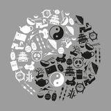Символы вектора значков черноты темы Китая установленные Стоковая Фотография