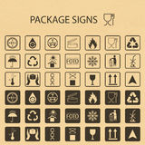 Символы вектора упаковывая на предпосылке картона Значок доставки установил включая рециркулировать, хрупкий, срок годности при х Стоковая Фотография