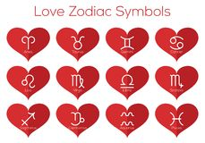Символы гороскопа влюбленности Астрологические знаки зодиака Комплект вектора плоской тонкой линии значков в красном сердце Стоковые Фото