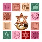 Символы еврейских праздников иллюстрация вектора