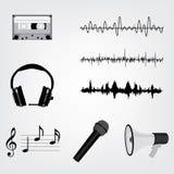 символы детальной высокой иконы музыкальные установленные Стоковое Изображение RF