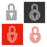 Символы замков заполнили внутри бинарные символы Стоковое Изображение RF