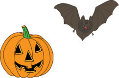 Символы и атрибуты хеллоуина Стоковое Фото