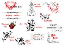 Символы и заголовки дня валентинки бесплатная иллюстрация