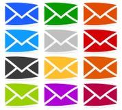 Символы конверта в 12 цветах как контакт, поддержка, значки электронной почты, Стоковая Фотография