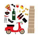 Символы культуры шаржа итальянские: Башня Пизы, ретро самокат, красное вино, кофе, пицца, макаронные изделия, сыр, ботинки моды Стоковые Фотографии RF