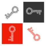 Символы ключей заполнили внутри бинарные символы Стоковые Фото
