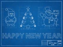 Символы Нового Года - светокопия Стоковая Фотография