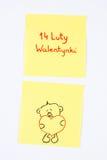 Символы дня валентинок нарисованные на бумаге, польских валентинках 14-ое февраля надписи, символе влюбленности Стоковые Изображения