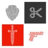 Символы оружий заполнили внутри бинарные символы Стоковые Изображения