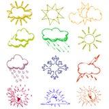 Символы погоды иллюстрация вектора
