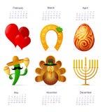 Символы праздника с календарем Стоковые Изображения