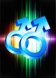 Символы рода гомосексуалиста на абстрактной предпосылке спектра Стоковая Фотография RF