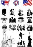 Символы США - комплект значка Стоковое Изображение