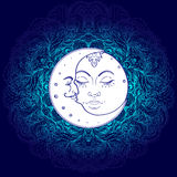 Символы луны Солнця как сторона внутри богато украшенной красочной мандалы кругло иллюстрация вектора