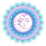 Символы луны Солнця как сторона внутри богато украшенной красочной мандалы кругло бесплатная иллюстрация