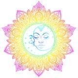 Символы луны Солнця как сторона внутри богато украшенной красочной мандалы кругло иллюстрация штока