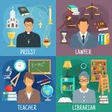 Символы учителя, юриста, библиотекаря и священника иллюстрация штока