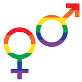 Символы флага радуги мужские женские Стоковое Изображение