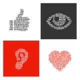 Символы человеческих частей тела заполнили внутри бинарные символы Стоковое Фото