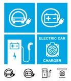 Символы электрического автомобиля поручая иллюстрация штока