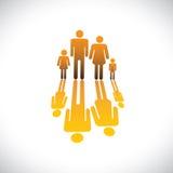 Символы людей семьи из четырех человек будут отцом, икона будут матерью, сынка & дочи Стоковые Изображения