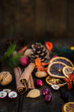 Символы Xmas как гайки, оранжевые куски, ветви дерева, cranber стоковое фото rf