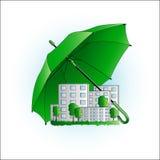 Символ экологичности, город под зонтиком Стоковые Фотографии RF
