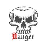 Символ эскиза черепа призрака или изверга хеллоуина Стоковое фото RF