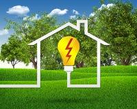 Символ электрической лампочки и дома Стоковые Фото